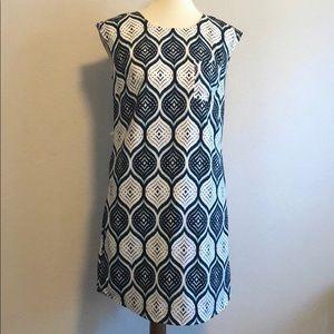 Merona Shift Dress Navy & White Diamond Print XS